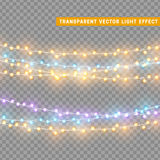 Christmas lights isolated realistic design elements. Stock Images
