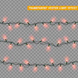 Christmas lights isolated realistic design elements. Stock Photo