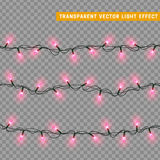 Christmas lights isolated realistic design elements. Royalty Free Stock Image