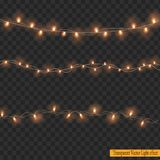 Christmas lights isolated on Transparent Background. Christmas decorations. Glowing lights for Xmas Holiday greeting card design Stock Image
