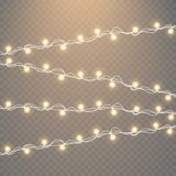 Christmas lights isolated on transparent background. Set of golden xmas glowing garland. Vector illustration. Christmas lights isolated on transparent background Royalty Free Stock Photography