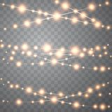 Christmas lights isolated on transparent background. Set of golden xmas glowing garland. Vector royalty free illustration