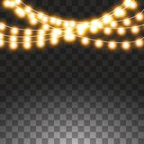Christmas lights isolated on transparent background. Set of golden xmas glowing garland. Vector illustration stock illustration