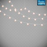 Christmas lights isolated on transparent background. Set of golden xmas glowing garland. Vector illustration vector illustration