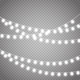 Christmas lights isolated on transparent background. Vector xmas glowing garland. Christmas lights isolated on transparent background. Set of white xmas glowing Royalty Free Stock Images