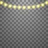 Christmas lights isolated on transparent background. Set of yellow xmas glowing garland. Vector illustration stock illustration