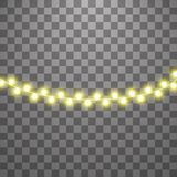 Christmas lights isolated on transparent background. Set of yellow xmas glowing garland. Vector illustration vector illustration