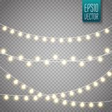 Christmas lights isolated on transparent background. Vector xmas glowing garland. Royalty Free Stock Images