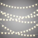 Christmas lights isolated on transparent background. Vector xmas glowing garland. vector illustration