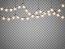 Christmas lights isolated on transparent background. Vector xmas glowing garland. Christmas lights isolated on transparent background. Set of golden xmas Stock Image