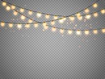 Christmas lights isolated on transparent background. Vector xmas glowing garland. Christmas lights isolated on transparent background. Set of golden xmas Stock Photo