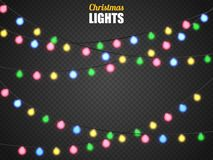 Christmas lights isolated on transparent background. Xmas garland. Vector illustration. Christmas lights isolated on transparent background. Xmas colorful Royalty Free Stock Image