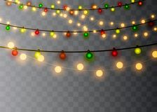 Christmas lights isolated on transparent background. Xmas glowing garland. Vector illustration royalty free illustration