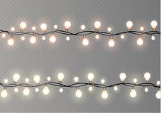 Christmas lights isolated on transparent background. Xmas glowing garland.Vector illustration Royalty Free Stock Photography