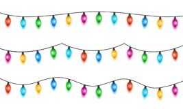 Christmas lights. Isolated on white background. Set of xmas glowing garland with colored bulbs. Vector illustration vector illustration