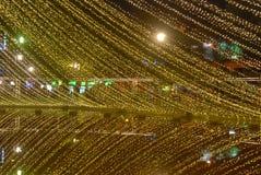 Christmas lights, lake reflect. Photo taken on El lago park, christmas lights reflected on the lake, Pereira, Colombia stock image