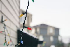 Christmas Lights left outdoors in winter after christmas. And new year stock image