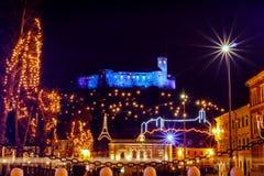 Christmas lights, Ljubljana, Slovenia. Christmas lights and decorations at congress square in city Ljubljana, capital of Slovenia stock photography