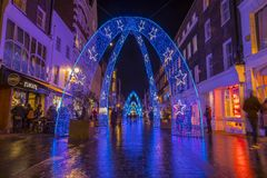 Christmas Lights in London. London, UK - November 19th 2018: A view of the festive Christmas lights on South Molton Street in central London royalty free stock image