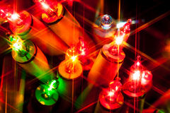 Christmas lights. Macro closeup shiny star stock photos
