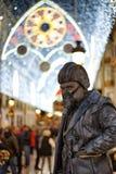 Portrait of a living statue, Malaga, Spain. Ecological awareness.