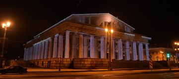Christmas lights marine exchange. In St. Petersburg, Russia stock photo