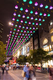 Christmas lights in Melbourne Bourke Street Mall. Bourke Street Mall in central Melbourne decorated with many Christmas lights.  People visit the mall for Stock Photo