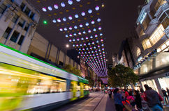 Christmas lights in Melbourne Bourke Street Mall. Bourke Street Mall in central Melbourne decorated with many Christmas lights.  People visit the mall for Stock Image
