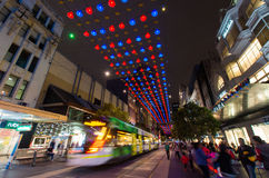 Christmas lights in Melbourne Bourke Street Mall Stock Image