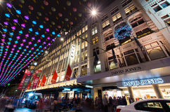 Christmas lights in Melbourne Bourke Street Mall. Bourke Street Mall in central Melbourne decorated with many Christmas lights.  People visit the mall for Royalty Free Stock Images