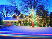Christmas lights in Minnesota Stock Image