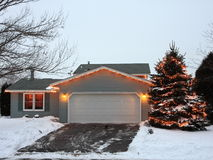 Christmas lights in Minnesota with garage Royalty Free Stock Images