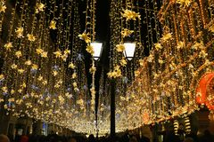 Christmas lights in Moscow, Russia. stock photo