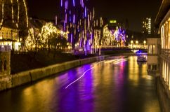 New Year and Christmas lights and atmosphere in Ljubljnana, Slovenia. Christmas lights of a New Year`s atmosphere at Advent. Slow motion royalty free stock images