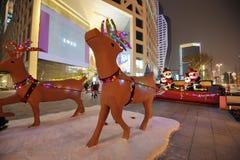 Christmas lights at night Stock Photos