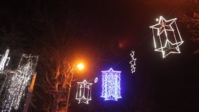 Christmas lights at night stock footage