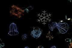Christmas lights in the night. Design LED light Royalty Free Stock Photography