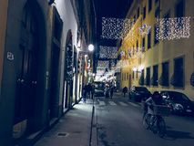 Christmas lights at night in Florence royalty free stock photo