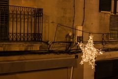 Christmas lights in the old town of Palma, Majorca. Spain royalty free stock photography