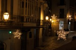 Christmas lights in the old town of Palma, Majorca. Spain stock images