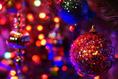 Christmas lights and ornaments Stock Images