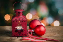 Christmas lights and ornaments Stock Photography