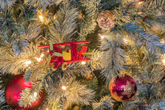 Christmas Lights and Ornaments Royalty Free Stock Photography