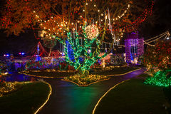 Christmas lights outdoor. Bright Christmas lights and decorations in Victorian Belle in Portland, Oregon stock images