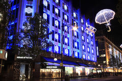 Christmas lights in Oxford Street at night Stock Photos