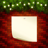 Christmas lights and paper on brick wall. Christmas background with fir tree branches, light bulbs and note paper on a brick wall, illustration Royalty Free Stock Images