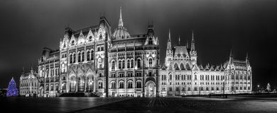 Christmas lights at the Parliament House in Budapest, Hungary. Royalty Free Stock Photo