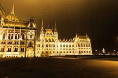 Christmas lights at the Parliament House in Budapest, Hungary. Stock Image