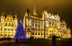 Christmas lights at the Parliament House in Budapest, Stock Photography