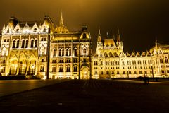 Christmas lights at the Parliament House in Budapest, Royalty Free Stock Photos